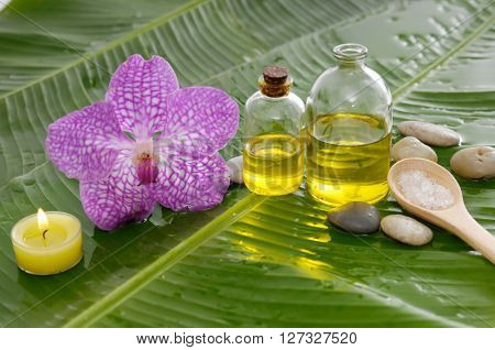 Spa set on banana leaf with salt in spoon