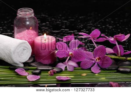 tranquil spa scene- red orchid with black stones with candle ,green plant