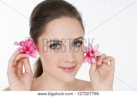 Spa Girl's face-white background