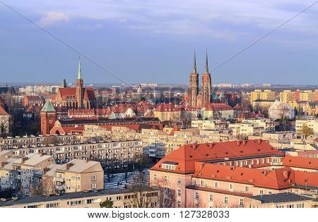 View on the old town of Wroclaw from the St. Maria Magdalena church.