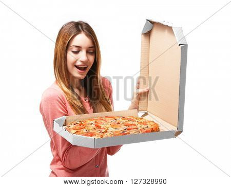 Happy young woman holding hot pizza in box, isolated on white