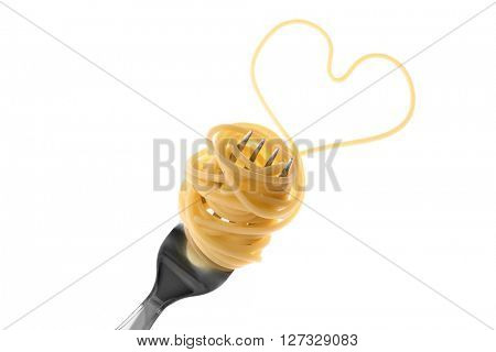 Heart made of cooked spaghetti and fork, isolated on white