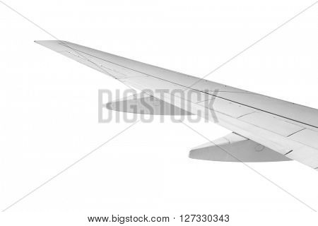 Airplane wing on white