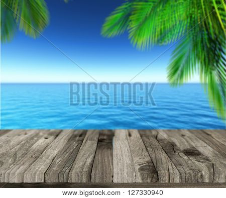 3D render of a weathered wooden deck looking out to a tropical sea