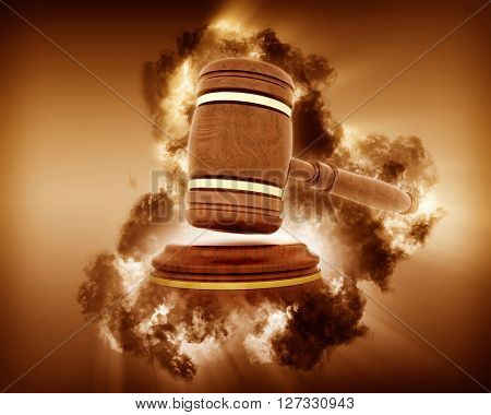3D render of a gavel image with a stormy effect