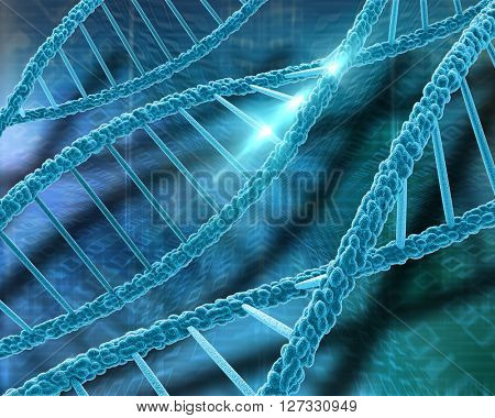 3D medical background with DNA strands and binary code