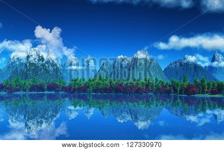 3D render of a landscape with mountains and trees  against a lake