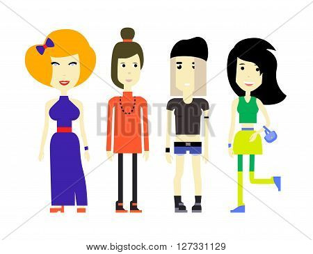 Flat illustration of young womans in various outfits.
