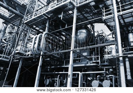 oil and gas installations, pipelines and pumps, metal blue toning idea