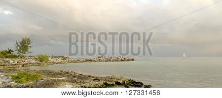 Landscape Of Beach On Cloudy Day With Rocks