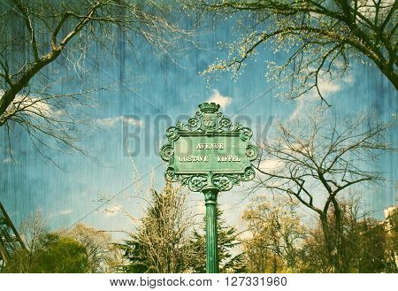 Avenue Gustave Eiffel street sign found in the Champ de Mars in Paris France