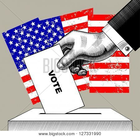 Hand putting voting paper in the ballot box on USA flag background. Concept of US Presidential election. Vintage engraving stylized drawing. Vector illustration