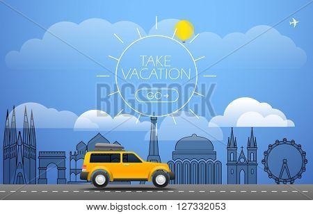 Take Vacation travelling concept. Flat design illustration