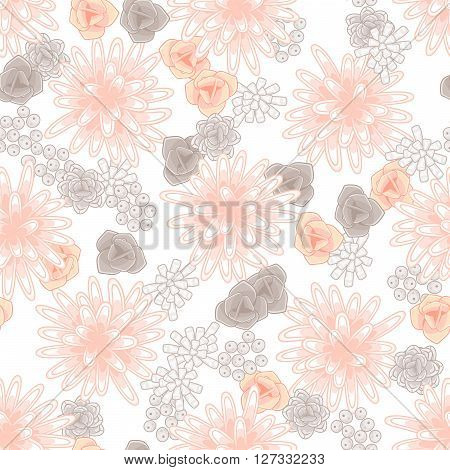 Mums flowers and roses seamless pink pattern. Feminine light chrysanthemum floral background.
