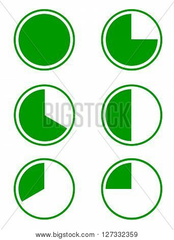 Set of six green pie diagrams for a presentation or an infographic 100% 75% 66% 50% 33% and 25%. Vector illustration.