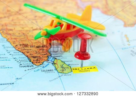 Sri Lanka Ceylon  Map Airplane