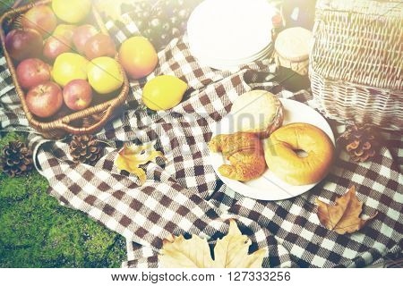 Picnic in autumn park. Retro style