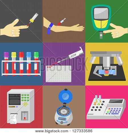 Blood test with blood sampling and medical equipment. Color vector icons set