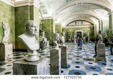 April 17 2016. Saint-Petersburg.Antique sculptures in the hall of Jupiter in the Hermitage Museum in St. Petersburg.Russia.