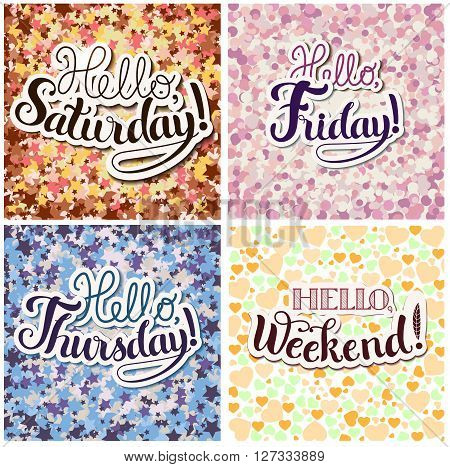 Set of Positive Lettering compositions on colored background
