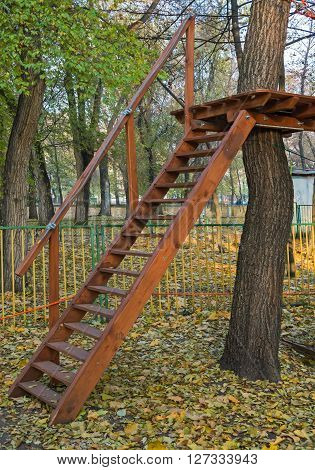 Children's adventure park of the bridges ropes and ladders designed for novice climbers