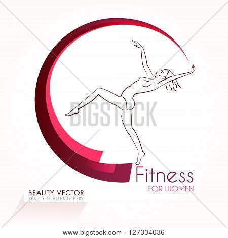 Female gymnast with symbolic gymnastic ribbon silhouette vector illustration. Fitness & Beauty sign, identity template for fitness club, beauty industry. Sport, beauty, freedom concept. Sample text.
