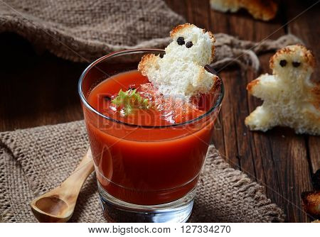 Halloween Gazpacho Soup And Croutons