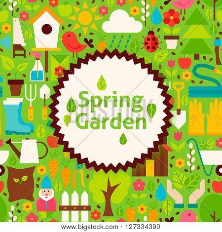 Flat Vector Spring Garden Green Poster Postcard