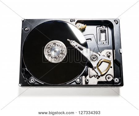 the computer's hard drive is shot isolated on white background