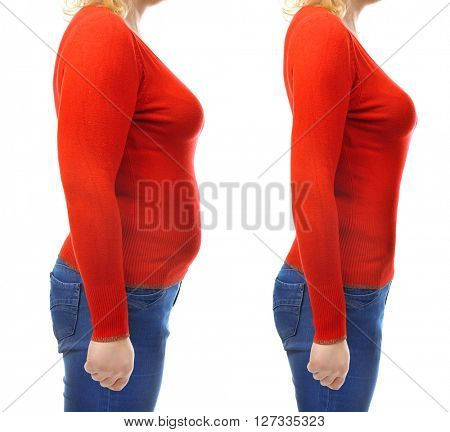 Fat and slim woman's body