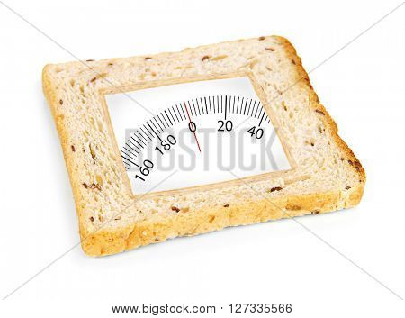 Toast bread with weights range isolated on white. Health and diet concept