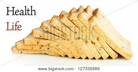 Toast bread isolated on white. Health and diet concept