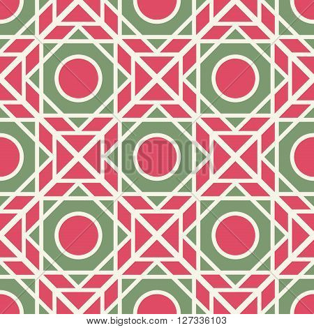 Seamless texture with arabic green nd red  geometric ornament. Vector pattern