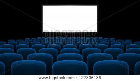 Cinema hall with white screen and blue row chairs