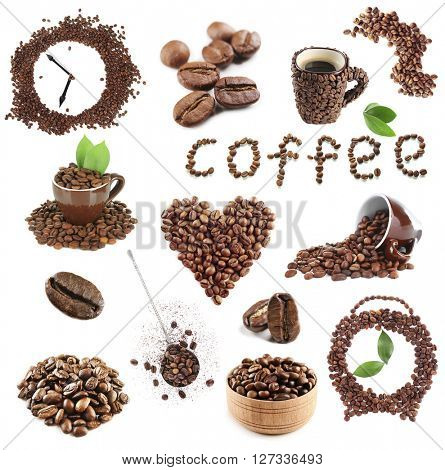 Colourful bright collage made of leaves and coffee beans with coffee cups, isolated on white