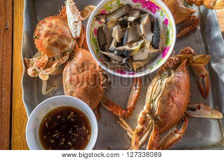 Highly detailed image of steamed crab thai style