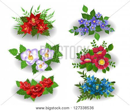 bunches of flowers isolated on a white background