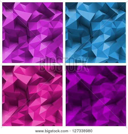Set of abstract Triangle Backgrounds in purple coloring