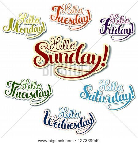 Set of positive lettering week days theme