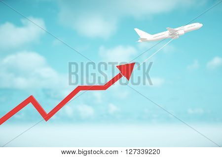 Airplane dragging red chart arrow on sky background