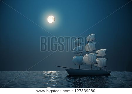 Ship on water with night sky and moon in the background. 3D Rendering