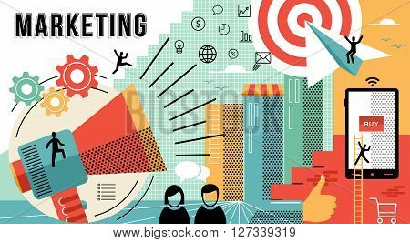 Online marketing business illustration with modern designs in flat line art style showing how to achieve work goals. EPS10 vector.