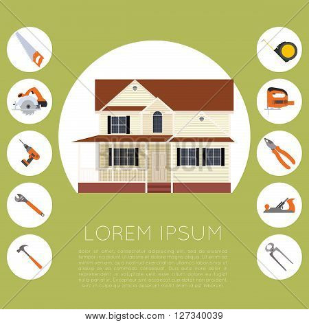 Vector image of the home improvement tools banner