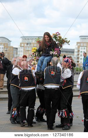Greenwich, London, Uk - March 13Th: Blackheath Morris Men Dancers English Easter Sunday March 13Th,