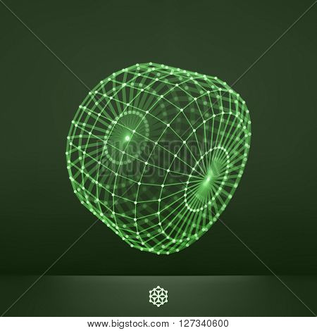 Connection Structure. Wireframe Vector Illustration. Glowing Grid.