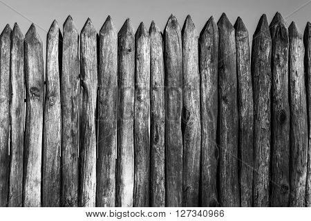 Palisade stockade palings logs and sky. Abstract background old ancient. Black and white image.