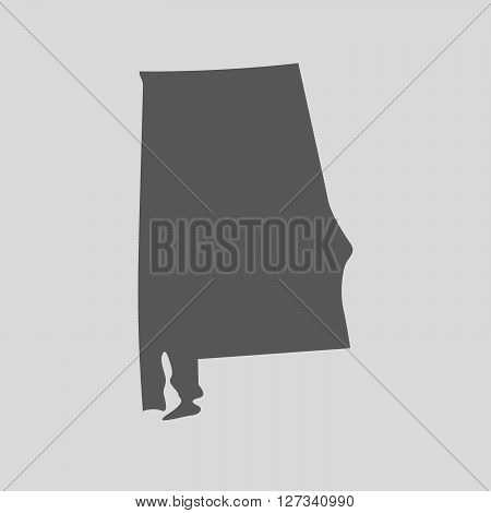 Black map of the State of Alabama - vector illustration. Simple flat map State of Alabama.