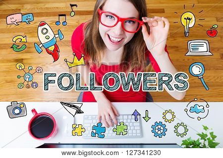 Followers Concept With Young Woman