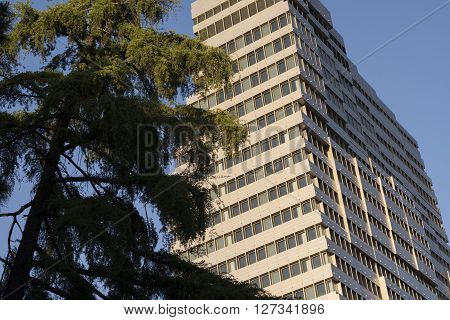 TEHRAN IRAN-April 21 2016 Modern office building in Tehran from low perspective with trees and blue sky in the background.