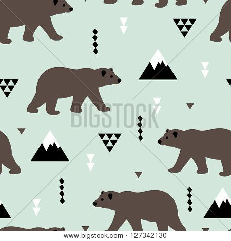 Seamless brown grizzly bear canadian woods winter scandinavian geometric kids design fabric background pattern in vector